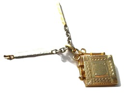 Antique Estate 14K Gold Locket on Watch Chain Two Tone - $895.50