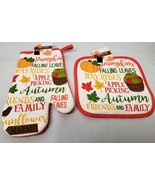 "PRINTED SET of 2: 1 Oven Mitt (10"") & 1 POT JUMBO HOLDER (8"") HARVEST,FA... - $9.89"