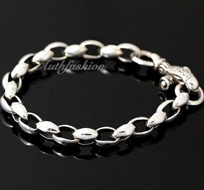 Mens Sterling Silver Bracelet Handcrafted Link Chain Hip Hop Biker Beachwear b08