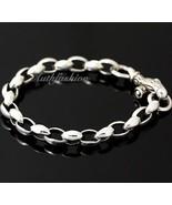 Mens Sterling Silver Bracelet Handcrafted Link Chain Hip Hop Biker Beach... - $161.57