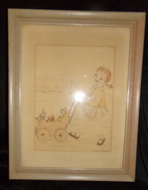 Antique Little Girl Walking Dolls Stuffed Animals Carriage Pencil Drawin... - $15.44