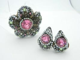 Miriam Haskell Pastel Rhinestone Faux Pearl Flower Brooch Earring Set Vi... - $247.49