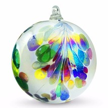 "4"" European Art Glass Crested Plume Multi-color Pearlized White Witch Ba... - $24.20"