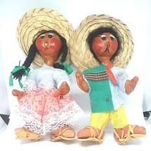 Vintage Handmade Paper Mache & Leather Mexican Folk-Art Dolls Christmas ... - $21.66