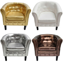 Artificial Leather Tufted Tub/Barrel Club Chair Accent Armchair 4 Colors... - $108.99+
