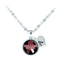 Custom Head and Neck Cancer Awareness Ribbon Silver Necklace Jewelry Initial - $14.99