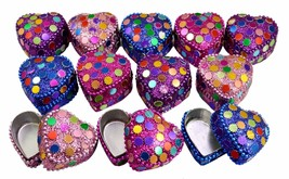 A Set Of 12Pcs Mirror Work Beaded Multi Jewelry Boxes 1.4 Inches Width - £18.41 GBP