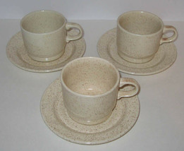 3 Homer Laughlin Country Sage Cups Saucers Beige Brown Speckled, Harlequ... - $5.00
