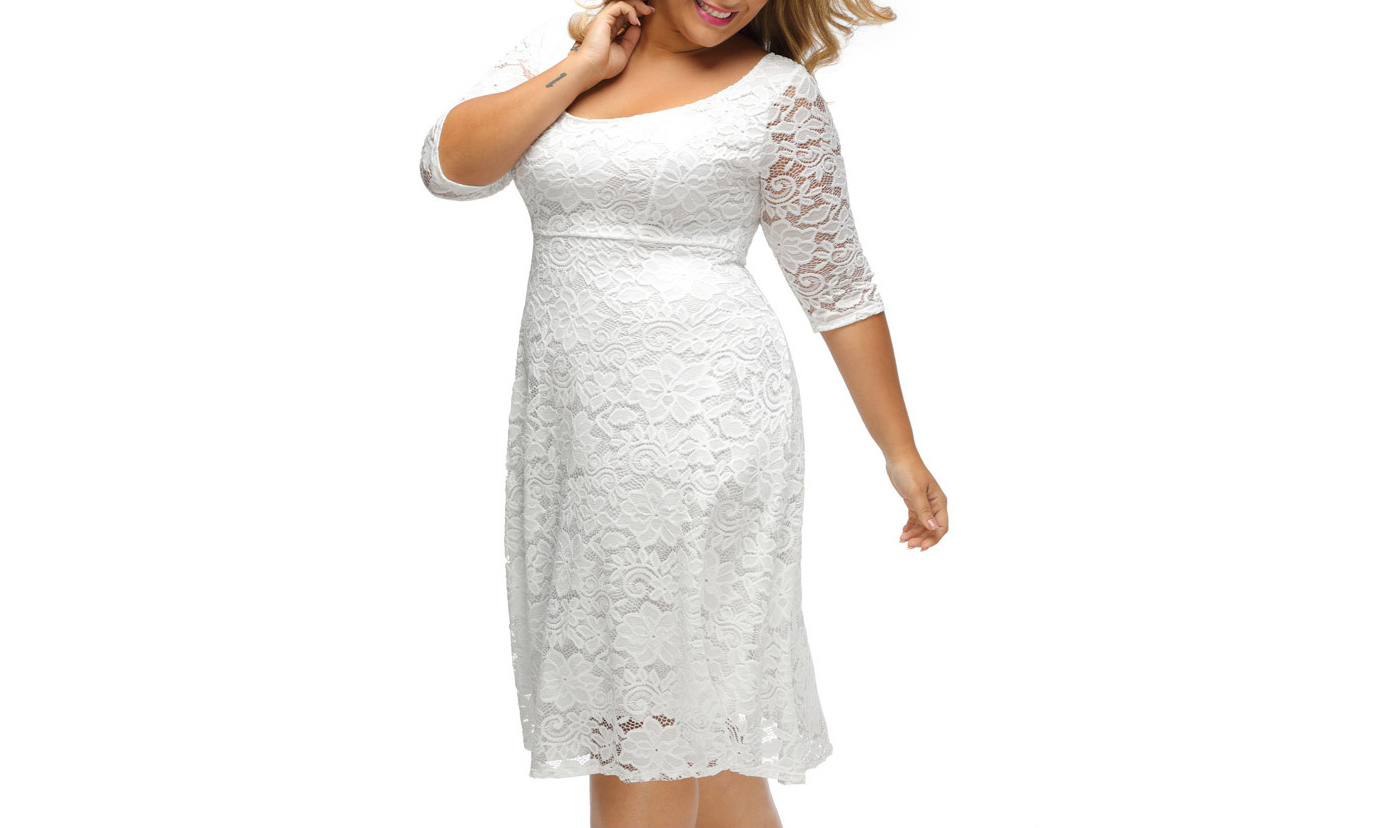 Women's Floral Lace 3/4 Sleeve Flare A-line Plus Size Midi Dress