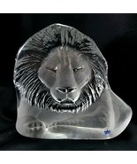 "Mats Jonasson Lion Sculpture 5.5"" Crystal Paperweight Royal Krona 3141 - $57.42"