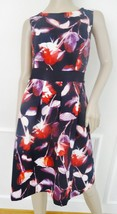 Nwt Adrianna Papell Sleveless Cocktail Flare Dress Sz 14 Black Red Flora... - $72.22