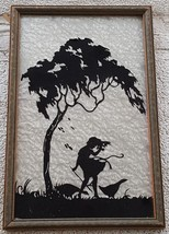 Beautiful Vintage Silhouette Goose Girl Over Textured Foil Background - VGC - $59.39