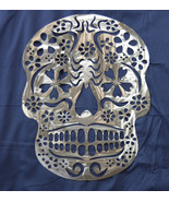 "23"" HUGE SUGAR SKULL DAY OF THE DEAD METAL WALL ART DECOR SILVER COLOR - $79.99"