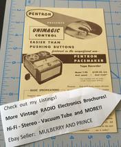 Vintage PENTRON Unimagic Pacemaker Emporer Clipper REEL TAPE RECORDER SPECS - $4.99