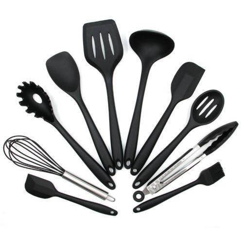 Set (10 Pcs)  Kitchen Cooking Utensil Set Silicone Spoon Baking Tools Non-Stick
