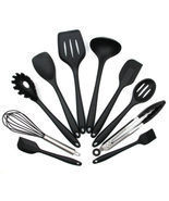 Set (10 Pcs)  Kitchen Cooking Utensil Set Silicone Spoon Baking Tools No... - £22.28 GBP