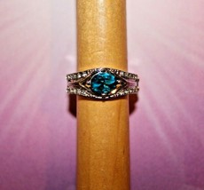 Teal & Clear Rhinestones - Silver - Stretch Ring - Paparazzi Jewelry - New - $7.82