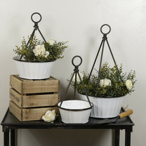 Set of 3 Metal Hanging Planters White Metal Pots with Black Trim and Han... - $125.95