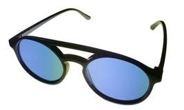 Perry Ellis Mens Sunglass Black Plastic Soft Square, Blue Flash Lens PE8... - $17.99
