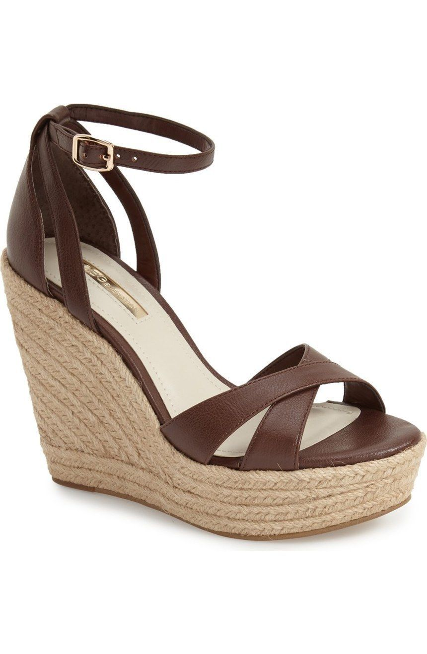 Primary image for Women's BCBGeneration Holly Espadrille Wedges, BG-HOLLY Cognac Sizes 6-9 Leath