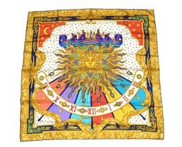 Hermes Scarf Carpe Diem Silk 90 cm White Red Sun Carre Shawl Stole - $295.02