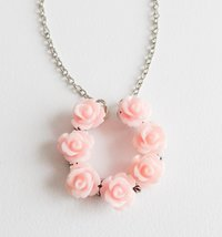 Pink flower necklace, children's jewelry, pink flower girl necklace - $10.75