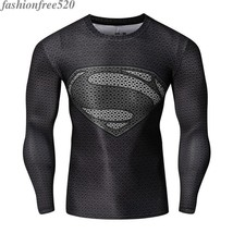 2017 New Male Marvel Movies Superman Long Sleeve Sportswear Fitness Cosplay Top - $12.59