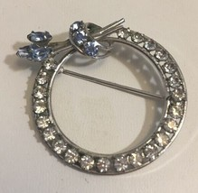 Vintage Carl-Art Sterling Rhinestone Circle Pin Floral Blue Clear Brooch - $24.13