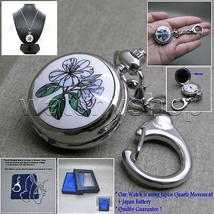 Enamel Pendant Watch with Cover Mirror 2 Ways Key Ring + Necklace Women ... - $14.49