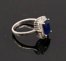 OLD 925 STERLING SILVER HANDMADE FABULOUS SAPPHIRE COLOR STONE RING BAND... - $26.72