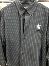 Antigua NY Yankees Blue and White Pinstripe Button-Down Dress Shirt, Siz... - $22.95