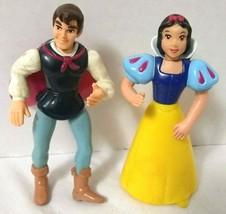 "Snow White And Prince Charming 3.5"" Pvc Figures Set Disney Store Cake Topper - $4.95"