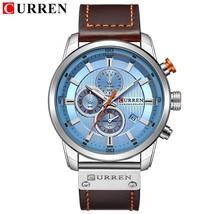 Top Brand Luxury CURREN 2018 Fashion Leather Strap Quartz Men Watches Casual Dat - $36.97