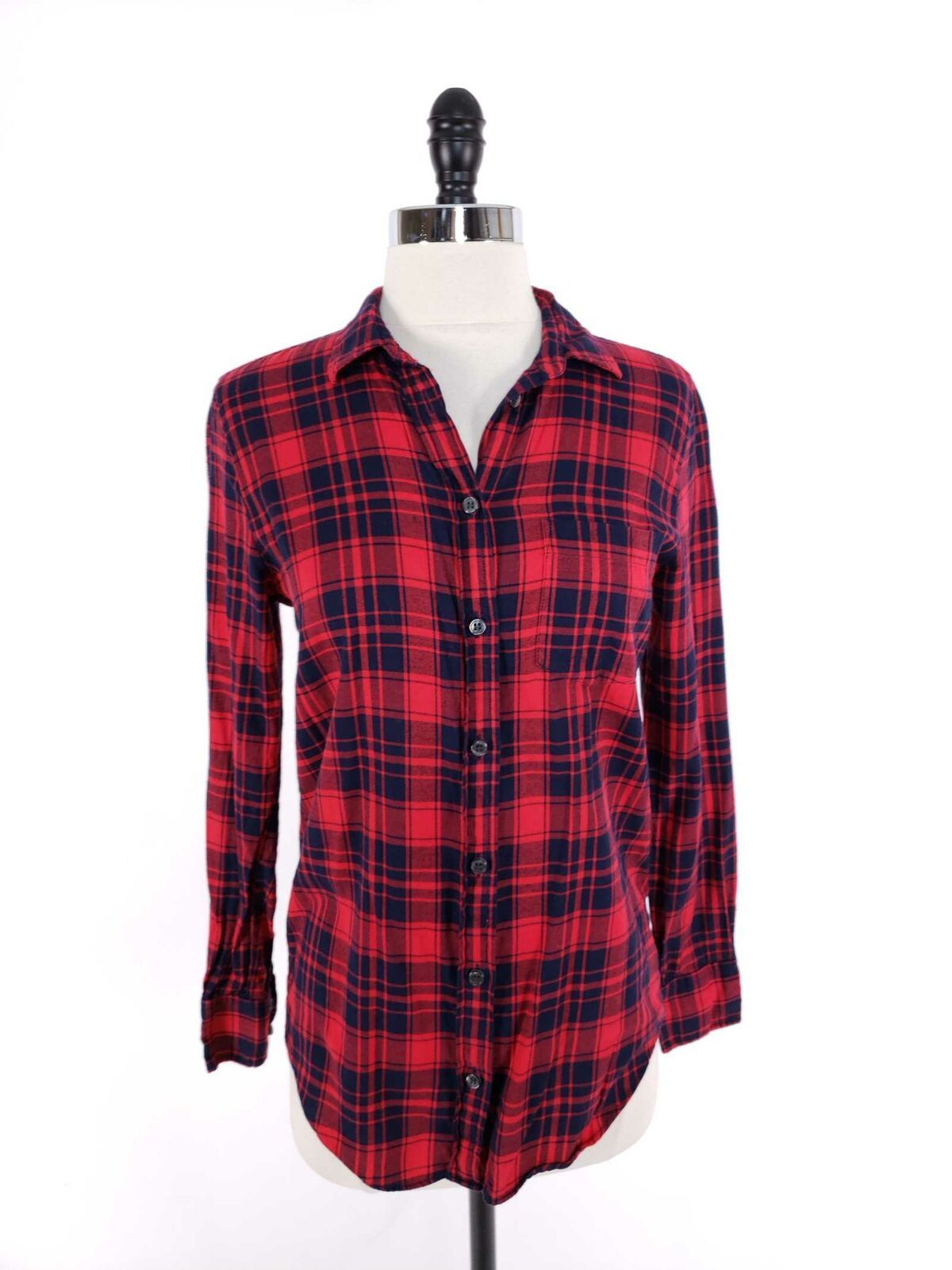 J.Crew Women Top XXS Flannel Shirt Boy Fit Soft Button Front Loose Fit