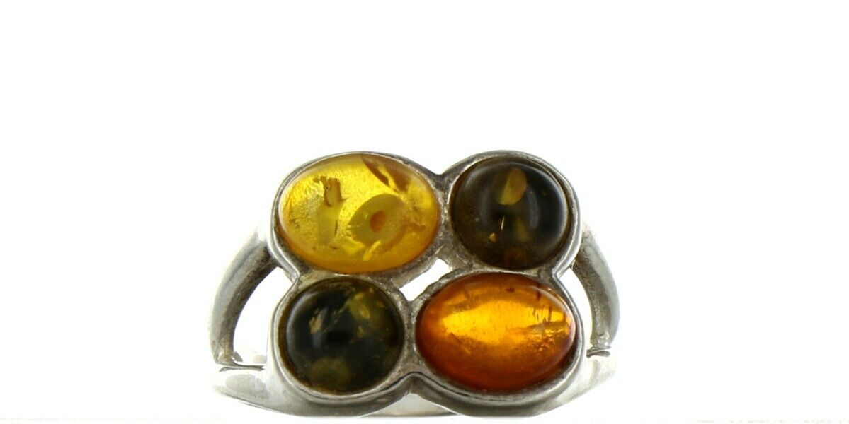 Ladies Size 7 Sterling Silver Natural Tri Color Amber Fashion Ring No. 2108