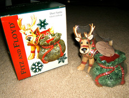 Fitz and Floyd Deer Santa Filled Candlecup NEW NIB Christmas Reindeer Ca... - $14.99
