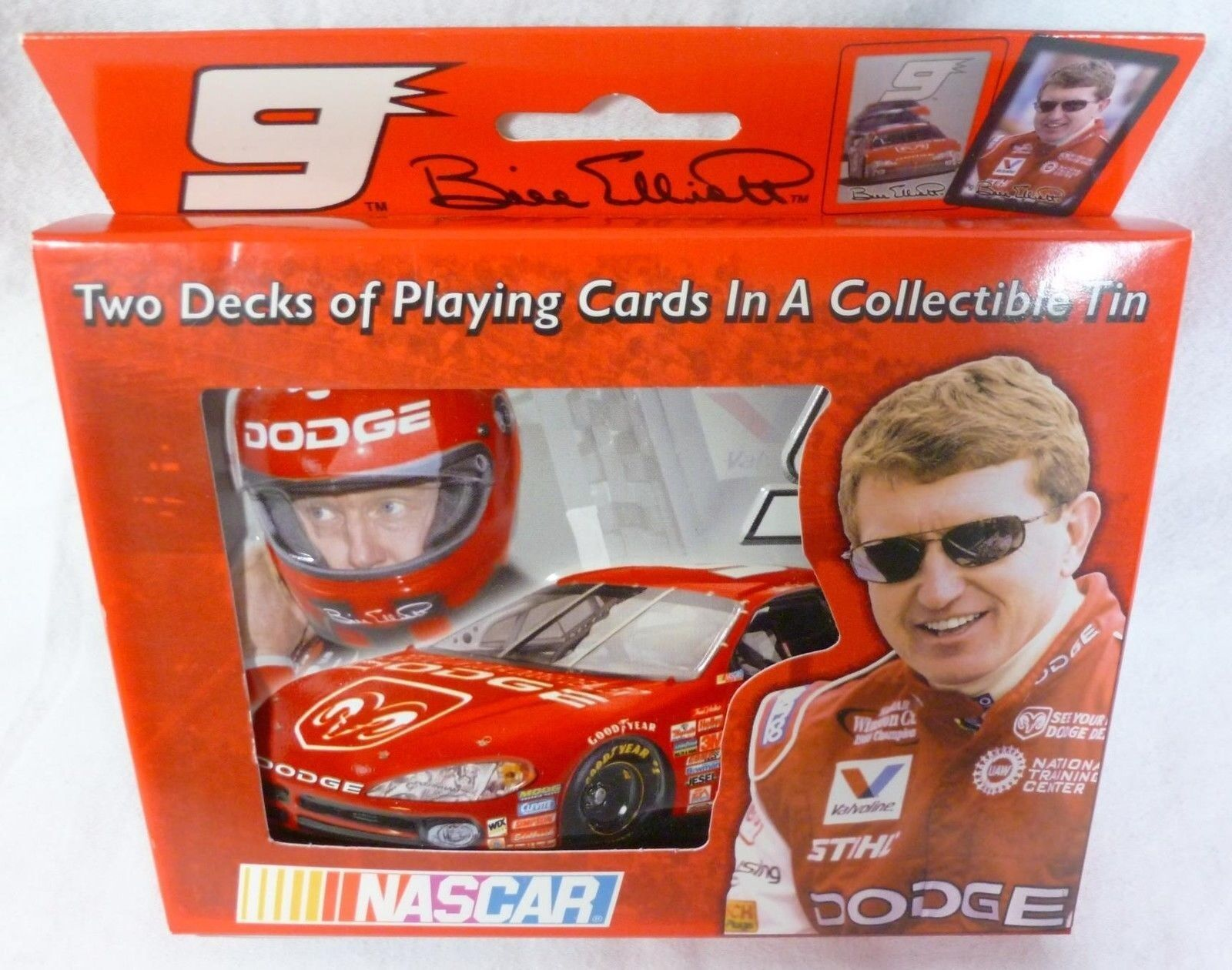Bill Elliott NASCAR Playing Cards (2 decks) in Collectable Tin (2002), NIB - $5.99