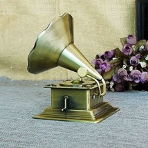Metal Retro Phonograph Model Vintage Record Player Props Antique Gramoph... - $26.89