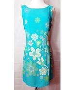 NC Love Dress Sleeveless Shift Flower Power Turquoise Blue size Medium V... - $32.64
