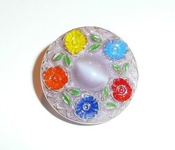 Vintage Czech Glass Moonglow Flower Buttons - 22mm Lt. Purple Multi-Clrd... - $8.90