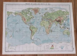 1928 VINTAGE PHYSICAL  MAP OF THE WORLD / AMERICA ASIA AFRICA EUROPE - $7.92