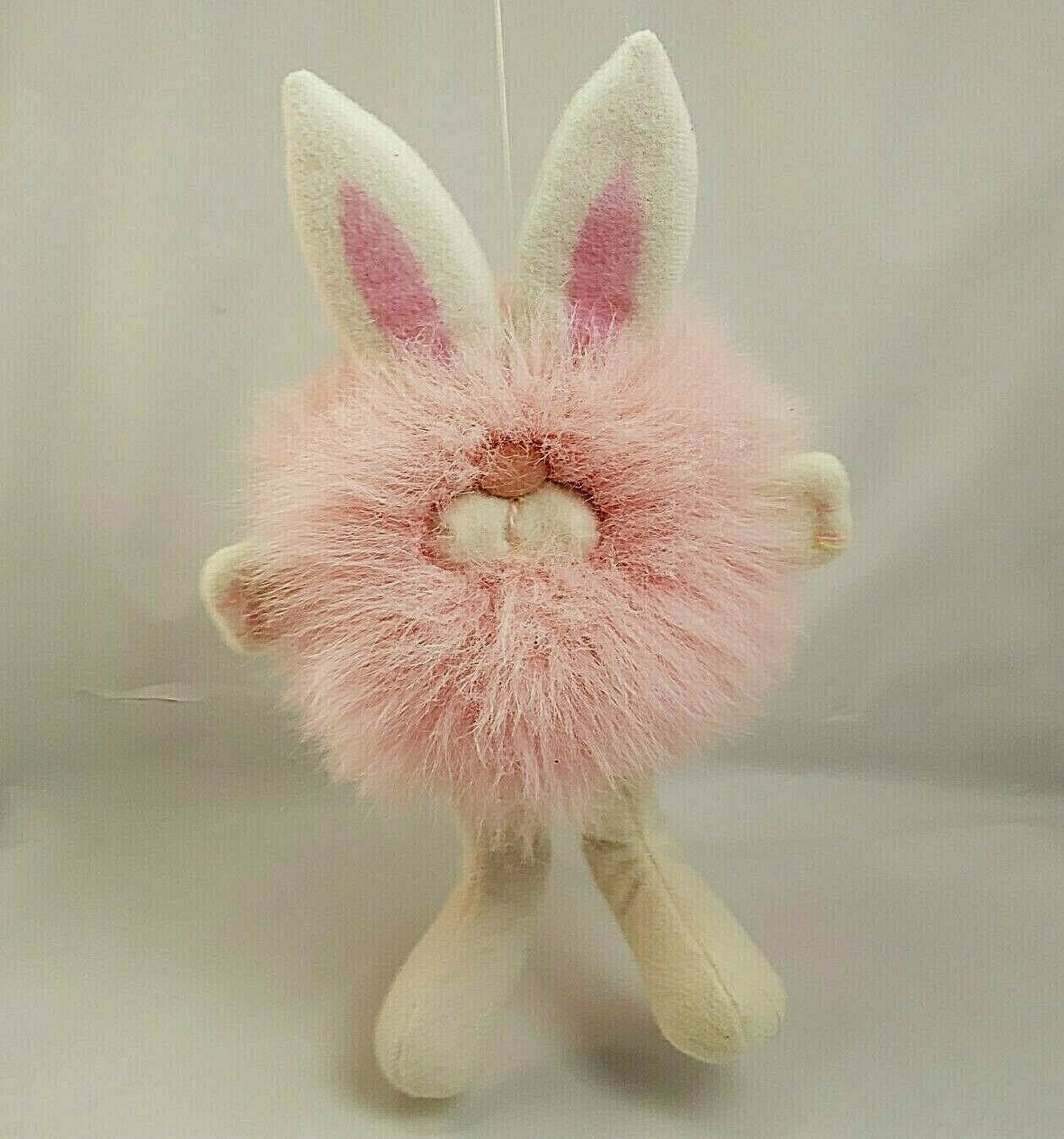 Primary image for Vintage Dakin Plush Bunny Rabbit Pink Pom Pom Minky Puff Ball Stuffed Animal 10""