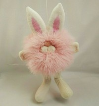 Vintage Dakin Plush Bunny Rabbit Pink Pom Pom Minky Puff Ball Stuffed An... - $43.54