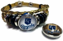 MLB Kansas City Royals Gold Leather Bracelet W/2 Logo Snap Jewelry Charms - $22.95