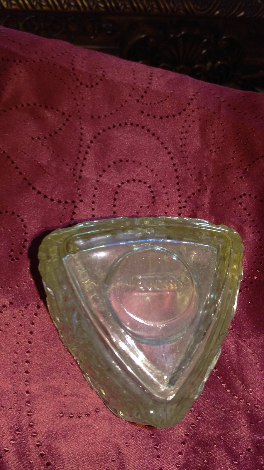 """Vintage Avon Glass Triangle Vase Candle holder Candy dish 4.5"""" x 4"""" Heavy"""
