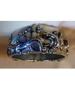 Vintage 1950s Chrome Snap Close Wide Bangle Cuff Bracelet Double Hinge &... - $75.00