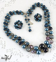 Two Strand Bead Necklace & Clip On Set - Vintage Japan - Shimmer Blue - ... - $42.00
