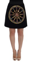 Dolce & Gabbana Black Wool Carretto Crystal A-Line Skirt 102042 - $1,231.46