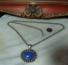 Vintage Sterling Silver Heavy 1950's Lapis Necklace by Esposito - $69.27