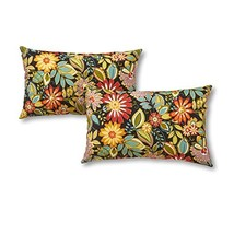 Greendale Home Fashions Rectangle Outdoor Accent Pillow set of 2, Jungle - £22.40 GBP